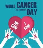 Concetto di giorno del Cancro del mondo Insegna del giorno del cancro del mondo, possiamo io possiamo Illustrazione di vettore illustrazione di stock