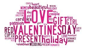 Concetto di giorno di biglietti di S. Valentino in nuvola dell'etichetta di parola immagine stock