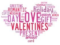 Concetto di giorno di biglietti di S. Valentino in nuvola dell'etichetta di parola fotografia stock