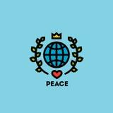Concetto di giorno di pace con il globo, le foglie verdi, la corona ed il cuore Fotografie Stock Libere da Diritti