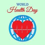 Concetto di giorno di salute di mondo con i battiti cardiaci contro lo sfondo del globo Illustrazione di vettore Utilizzabile per Fotografia Stock