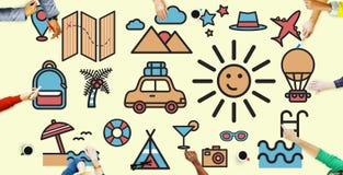 Concetto di godimento di divertimento di Sun di vacanza di viaggio illustrazione di stock