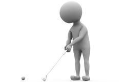 concetto di golf del gioco dell'uomo 3d Immagini Stock