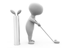 concetto di golf del gioco dell'uomo 3d Fotografia Stock