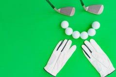 Concetto di golf: disposizione piana Fotografia Stock