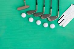 Concetto di golf: disposizione piana Immagini Stock Libere da Diritti