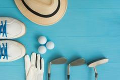 Concetto di golf: disposizione piana Fotografia Stock Libera da Diritti