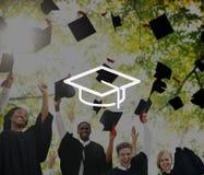Concetto di graduazione di saggezza di conoscenza di istruzione del bordo del mortaio Fotografia Stock Libera da Diritti