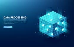 Concetto di grande centro di elaborazione dati, base di dati della nuvola, stazione di energia del server di futuro Tecnologie de royalty illustrazione gratis