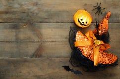 Concetto di Halloween Cappello delle zucche, del ragno, del pipistrello e della strega Immagini Stock Libere da Diritti