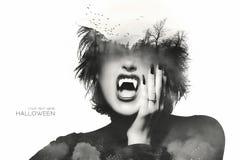 Concetto di Halloween con una ragazza gotica Doppia esposizione Fotografia Stock Libera da Diritti