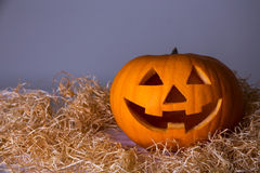 Concetto di Halloween - grande Jack-O-lanterna della zucca sopra grey Fotografia Stock