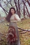 Concetto di Halloween la strega nel legno Fotografia Stock