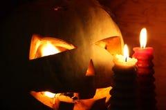 Concetto di Halloween Sorridere della zucca Immagini Stock Libere da Diritti