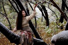 Concetto di Halloween una strega della foresta l'autunno Fotografia Stock Libera da Diritti