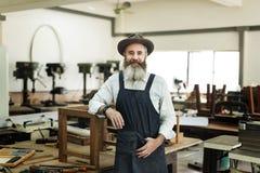 Concetto di Handicraft Wooden Workshop dell'artigiano del carpentiere immagini stock
