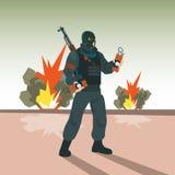 Concetto di Hold Bomb Terrorism del terrorista Fotografie Stock Libere da Diritti