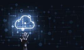 Concetto di idea di tecnologia con l'icona ed il contatto della nube ardente dito immagine stock