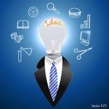 Concetto di idea, uomo con una lampadina - vector eps10 royalty illustrazione gratis