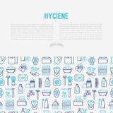 Concetto di igiene con la linea sottile icone illustrazione vettoriale