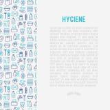 Concetto di igiene con la linea sottile icone royalty illustrazione gratis