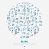 Concetto di igiene nel cerchio con la linea sottile icona royalty illustrazione gratis