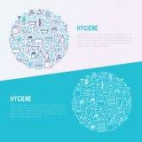 Concetto di igiene nel cerchio con la linea sottile icone illustrazione vettoriale