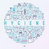 Concetto di igiene nel cerchio con la linea sottile icone royalty illustrazione gratis