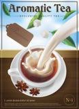 Concetto di imballaggio del tè o di progetto del manifesto Tè in una tazza con latte illustrazione vettoriale
