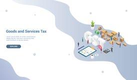 Concetto di imposta di servizi merci di Gst con la gente del gruppo e grafico del grafico di finanza per il modello del sito Web  illustrazione di stock