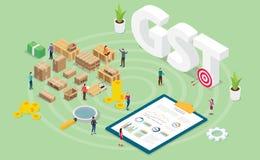 Concetto di imposta di servizi merci di Gst con la gente del gruppo e grafico del grafico di finanza con stile isometrico moderno illustrazione vettoriale
