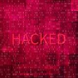 Concetto di incisione Insegna con l'Ddos-attacco Concetto del virus informatico e dello Spam Fondo di tecnologia digitale di codi illustrazione di stock