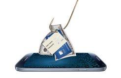 Concetto di incisione o di phishing con il programma di malware Fotografia Stock Libera da Diritti