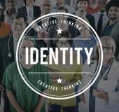 Concetto di individualità del carattere di identificazione di identità Fotografie Stock Libere da Diritti