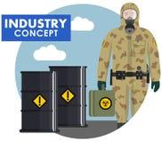 Concetto di industria Illustrazione dettagliata del lavoratore, soldato nel vestito protettivo del cammuffamento su fondo dei bar Fotografie Stock Libere da Diritti
