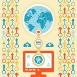 Concetto di Infographic - acquisto di web di Internet Fotografie Stock