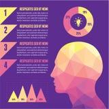 Concetto di Infographic con la testa umana Fotografia Stock