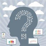 Concetto di Infographic con una testa umana & le esposizioni Fotografie Stock Libere da Diritti