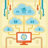 Concetto di Infographic - nuvole di Internet Fotografie Stock