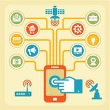 Concetto di Infographic - touchpad & Wi-Fi Fotografia Stock Libera da Diritti