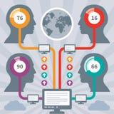 Concetto di Infographics con teste umane & computer Fotografia Stock