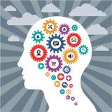 Concetto di Infographics con una testa umana Fotografie Stock Libere da Diritti