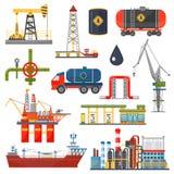 Concetto di infographics dell'industria del gas dell'olio Icone del trasporto e di distribuzione del combustibile diesel della be Immagine Stock Libera da Diritti