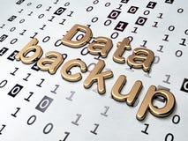 Concetto di informazioni: Backup dei dati dorato sul fondo di codice binario Fotografia Stock Libera da Diritti