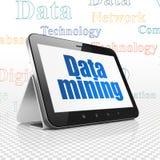 Concetto di informazioni: Computer della compressa con data mining su esposizione Fotografia Stock Libera da Diritti