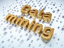 Concetto di informazioni: Data mining dorato su fondo digitale Fotografia Stock Libera da Diritti