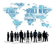 Concetto di informazioni di media di evento di pubblicità di globalizzazione di notizie di mondo Fotografie Stock Libere da Diritti