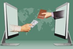 Concetto di informazioni, due mani dai computer portatili mano con denaro contante ed il passaporto illustrazione 3D Immagine Stock Libera da Diritti