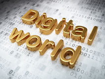 Concetto di informazioni: Mondo dorato di Digital sopra Immagini Stock