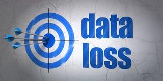 Concetto di informazioni: perdita di dati e dell'obiettivo sul fondo della parete Fotografie Stock Libere da Diritti